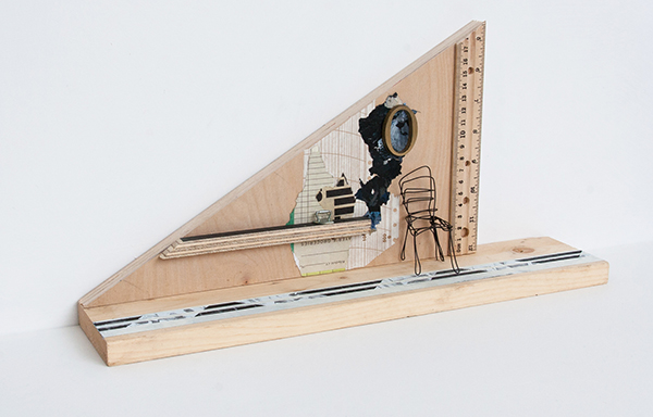 "Temporary Residence, 2015, mixed media on wood scraps, 16.75"" x 8.5"" x 3.5"""